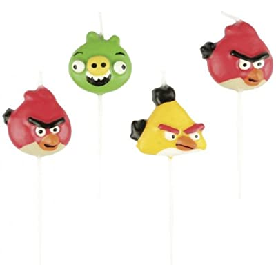 4 Bougies Figurines - Angry Birds - Taille Unique