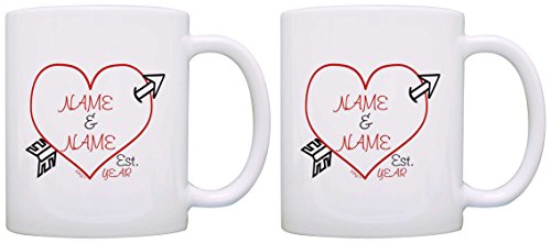 Personalized Couples Gift Cupid's Arrow Heart Valentines 2 Pack Gift Coffee Mugs Tea Cups White
