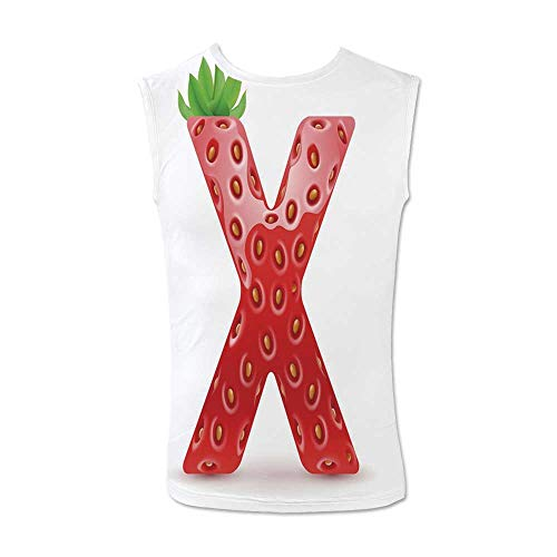 Letter X Comfortable Tank Top,Vegetarian Typography with Tropical Fruits Healthy Ripe and Sweet for Men,XXL ()
