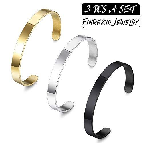 Finrezio 3 PCS 8MM Stainless Steel Plain Polished Finish Cuff Bangle Bracelets Set for Men Women