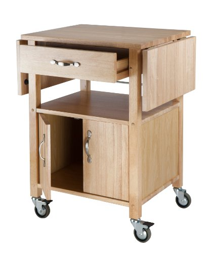 Kitchen Cart, Double Drop Leaf, Cabinet with shelf and With Chanasya Polish Cloth