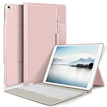 Apple ipad pro 10.5 keyboard, KuGi Apple iPad Pro 10.5 Case With Keyboard Ultra-Thin Bluetooth Keyboard Stand Case / Cover + Pencil holder for Apple iPad Pro 10.5-inch 2017 Version Tablet (Rosegold)