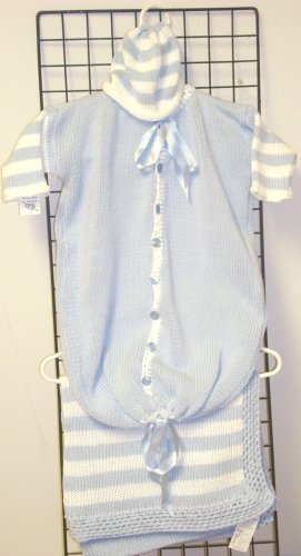 Knitted on Hand Knitting Machine Blue Cotton with White Stripe Finished By Hand Crochet Newborn Bunting Hat Set and Matching Large 32 By 45 Inches Blanket