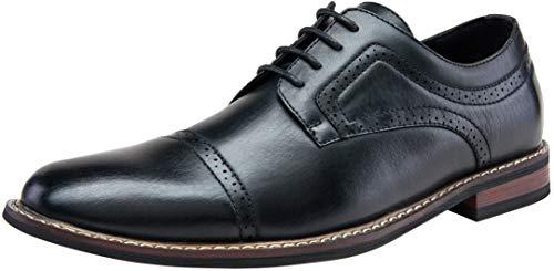 JOUSEN Men's Oxford Cap Toe Brogue Formal Dress Shoes (11,Black)