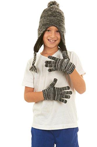Polar Wear Boys Knit Winter Peruvian Ear Flaps Beanie Hat & Gloves Set (Unique Hats Gloves)