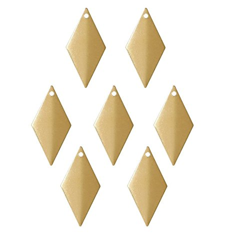(45 Brass Plated Alloy Metal Stamping Blanks Curved Diamond Drop 27x13mm)