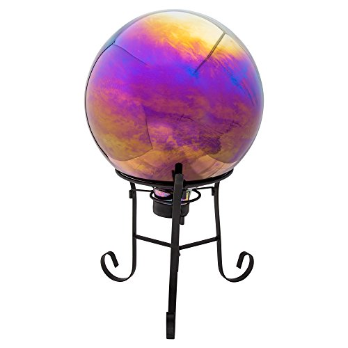Truu Design, Mirror Finished Gazing Ball with Metal Stand, 10 x 12 inches, Multicolor from Truu Design