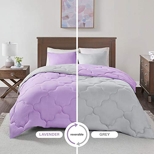 3 Piece Comforter Set All Season Reversible Goose Down Alternative Stitched Geometrical Pattern Bedding, Full/Queen, Lavender ()