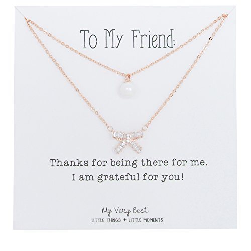 Double Bow Necklace (My Very Best Sparkle Cubic Bow Simulated Pearl Double Chain Rose Gold Plated Necklace for Gift)