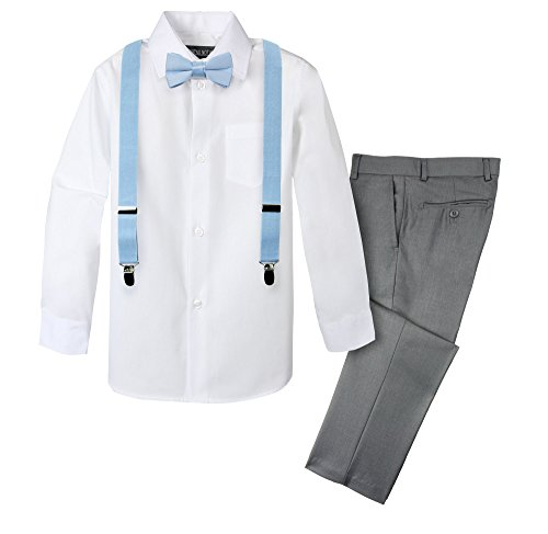 Gy Light - Spring Notion Boys' 4-Piece Suspender Outfit 06 Grey/Light Blue