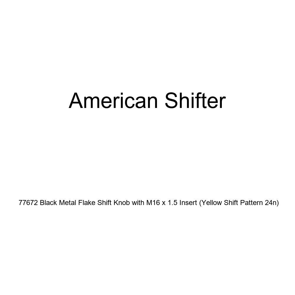 Yellow Shift Pattern 24n American Shifter 77672 Black Metal Flake Shift Knob with M16 x 1.5 Insert
