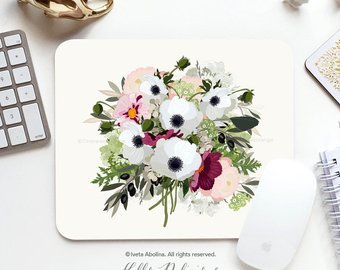 Mouse Pad Anemone Floral Office Gift Mousepad Floral Mouse Pad Flower Mousepad Peony Mousepad Mouse Mat Rectangular Rose Mousepad Round 154.