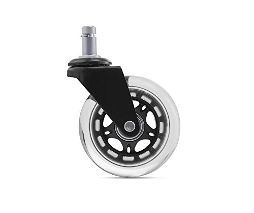Hardwood Floor Rollerblade Office Chair Replacement Caster Wheels, Protects All Floors, Set of - Roller Charge Assembly