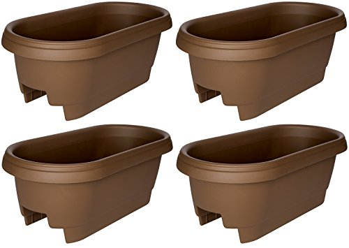 Bloem Deck Balcony Rail Planter, 24'', Chocolate (477245-1001) (4-pack) by Bloem
