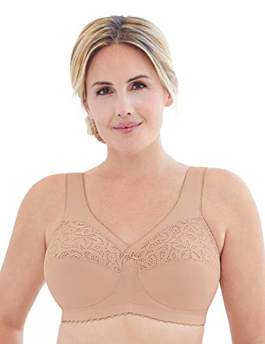 Glamorise Women's Full Figure Plus Size MagicLift Cotton Wirefree Support Bra #1001, Café, 56G