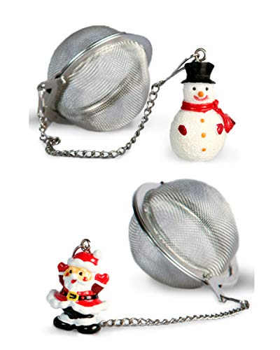 Santa and Snowman Stainless Steel Tea Ball Infusers and Strainers - Christmas Set