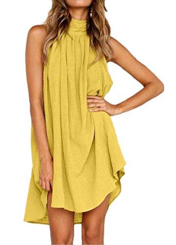 Pleated Irregular Yellow Party Sleeveless Summer Beach Jaycargogo Dress Womens 8xqISxX