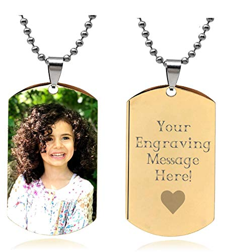Interway Trading Personalized Custom Photo High Polished Color Engraved Dog Tag Necklace Pendant and 24 inch Stainless Steel Chain, Velvet Giftpouch and Keyring (Gold Keychain Stainless Steel)