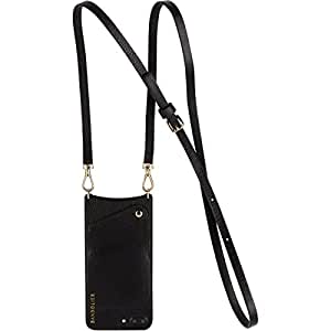 Phone Case for iPhone 8, 7 & 6 ONLY - Bandolier Emma Black Pebble Leather Wallet Cover & Gold Hardware Crossbody Adjustable Strap for ID & Credit Cards. Cell Purse to Carry Hands-free.