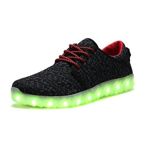 COODO - Zapatillas de running para mujer negro/ rojo