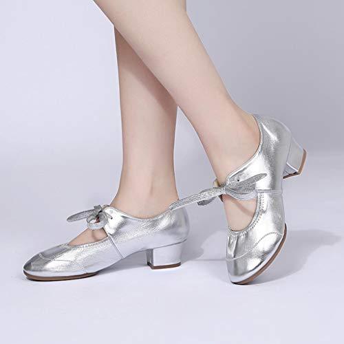 Couleur Au Simples Unie Modernes Milieu Latine Chaussures Silver Ballet Femmes Darringls De Danse OaFBq66I