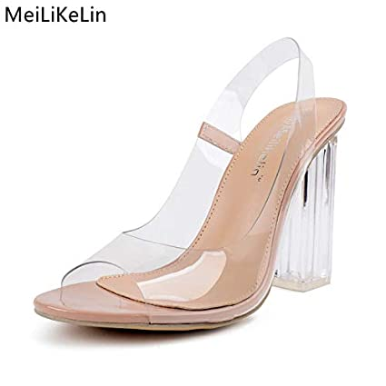 593122228758 Image Unavailable. Image not available for. Color  JingZhou Clear Jelly Sandals  Women Crystal Heels Transparent Block Thick High ...