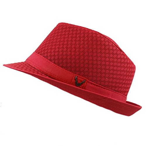 Black Horn 200G1015 Classic Cool Soft Mesh Fedora hat (L/XL, Red) -