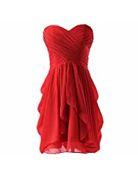 Women Strapless Pleated Cocktail Party Evening Dress Chiffon Wedding Gown Robe