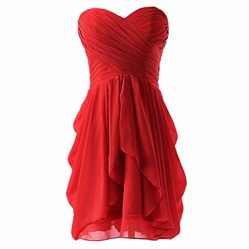 QIYUN.Z Las Mujeres Sin Tirantes del Vestido De Noche Coctel Vestido De Novia De Gasa Plisada Rojo