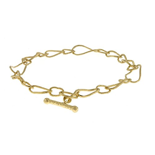 14 ct Gelb Gold strukturiert links gemischt Satin Finish Knebelverschluss Armband – 20 cm