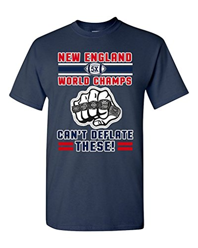 World Champs Can't Deflate These Football Sports DT Adult T-Shirt Tee (Large, Navy Blue)