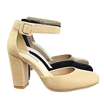 3f988fb1544 City Classified Chunky Block Heel Dress Pump w Comfortable Foam Padding   Ankle  Strap