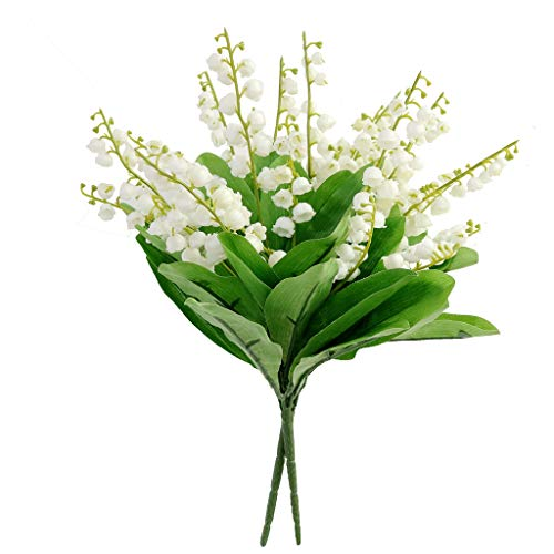 Valley Of Bouquet Lily The (2PCS Plastic White Cream Lily of The Valley Artificial Flower Bush Wedding DIY Bridal Bouquet)