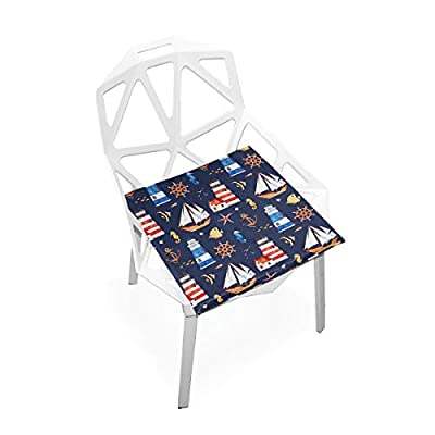 Bardic HNTGHX Outdoor/Indoor Chair Cushion Lighthouse Sailboat Pattern Square Memory Foam Seat Pads Cushion for Patio Dining, 16