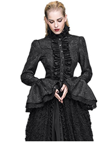 Katoot@ New Women's Gothic Punk Style Vintage Europe&America Palace Lolita Flare Sleeve Blouse Cotton Stand Collar Falbala Shirt (L, Black) ()