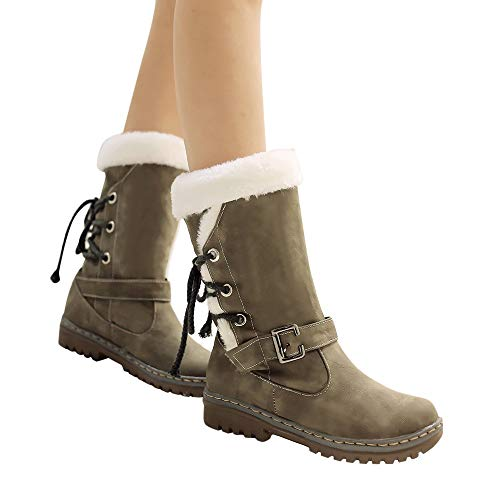 Classiques Jimma Bottes sneakers En Cuir De chaussures Plates Pour Chaussures Fourrure Mode Chaudes D'hiver Neige Femme Femmes Kaki wqXfYrqd