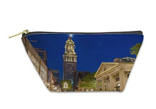Gear New Accessory Zipper Pouch, Custom House Tower And Quincy Market At Night Boston USA, Small, - Market Shops Quincy
