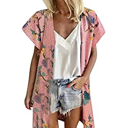 OrchidAmor Women Fashion Loose Summer Floral Print Short Sleeved Cardigan Tops Pink