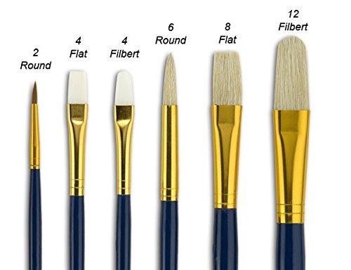 Fundamentals Paint Brush Set Long Handled For Decorative Arts, Watercolor, Acrylic, Oils, Set Of 6 Various Paint Brushes - Set No. 18