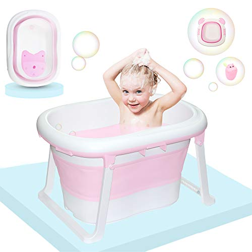 C-Chain Pink Baby Bathtub, 2 in 1 Collapsible Infant Foldable Child Bath tub with Folding Washbasin & Water Rinser for Bathing Newborns, 0-12 Years Old