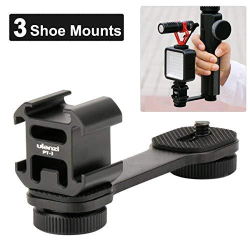 Ulanzi PT-3 Triple Cold Shoe Gimbal Microphone Mount Extenstion Bar, w 1/4 inch Adapter Video Light Microphone Mount Compatible for Zhiyun Smooth q 4 Feiyu DJI Gimbal Stabilizer