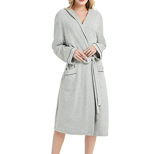 Women Summer Cotton Pajamas Nightgown Lingerie Bathrobe with Belt Nightwear Gray