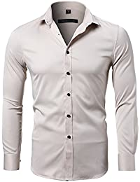 Mens Bamboo Fiber Dress Shirts Slim Fit Solid Long Sleeve Casual Button Down Shirts, Elastic