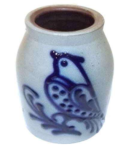 ndmade Stoneware Crock w/ Cobalt Blue Bird Folk Art (Stoneware Bird)