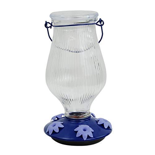 Perky-Pet 9107-2 Grand Oasis Top-Fill Glass Hummingbird Feeder Purple 38 oz Capacity