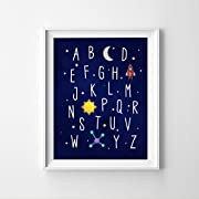 MS Fun Outer Space Nursery Alphabet and Numbers Wall Art Rocket Ship 8x10,Ready to Hang