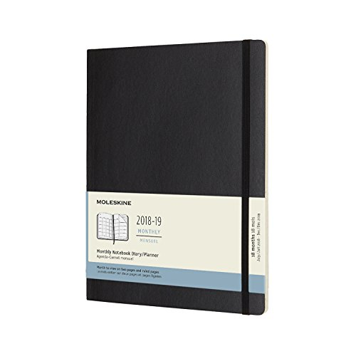 (Moleskine Classic 18 Month 2018-2019 Monthly Planner, Soft Cover, XL (7.5
