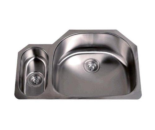 (32 Inch Stainless Steel Undermount 20/80 Double D-Bowl Offset Kitchen Sink - 16 Gauge)