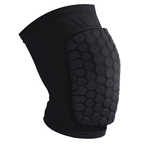 Luwint Knee Support Sleeve - Compression Anti-slip Honeycomb Knee Pad for Basketball Volleyball, Black, 1 Piece (X-Large/ Adult)