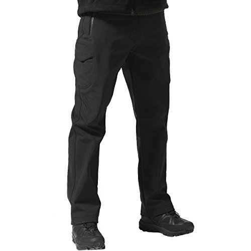 FREE SOLDIER Men's Outdoor Water Repellent Windproof Softshell Fleece Lined Cargo Snow Hiking Pants(Black 38W/32L X-Large)